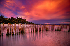 B A R R I O (migo_santos) Tags: ocean pink sunset sea white beach clouds canon sand philippines bamboo boracay seascap 760d