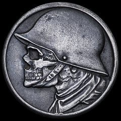 German 1918 Stadt Dren Skull #3 (Seth Basista Engraving) Tags: original ohio sculpture halloween metal skeleton skull necklace carved seth scary coin day elizabeth hand coins antique unique jewelry carving best ring queen creepy made every nickel etsy everyday edc oddity nickels society hobo usn carvings carry obscure everydaycarry youngstown austintown basista carvings seth ohns