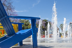 Summer in San Jose [Explore] (aaronrhawkins) Tags: california park summer water fountain relax colorful downtown sanjose bluesky drought cleo playful bubbling waterspout beachchair splashpad aaronhawkins