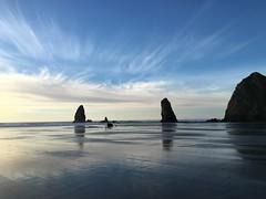 Winter beach trip (aehdeschaine) Tags: oregon reflections sand pacificocean beaches cannonbeach haystackrock