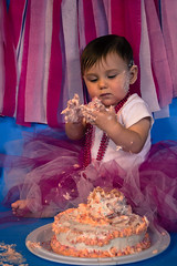 (Listeral Mac) Tags: birthday pink blue baby cute girl cake necklace smash toddler mess adorable celebration tutu