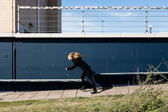(Peter de Krom) Tags: storm girl hair pier wind floating windy leaning forward semaphore hvh againstthewind seinpost