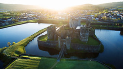 Sunrise Over Caerphilly Castle - EXPLORED! Thank You :-) (Fotomondeo) Tags: castle wales sunrise gales amanecer caerphillycastle aerialphotography castillo caerphilly drone djiinspire1