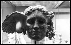 The Bronze Head of Hypnos (B&W) (jere7my) Tags: greatbritain vacation england blackandwhite sculpture london statue museum bronze god unitedkingdom sleep wing britishmuseum 2014 hypnos bronzeheadofhypnos
