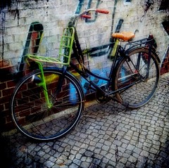 Berlin Bicycle (s v o p) Tags: street old berlin art texture bicycle germany square deutschland alt bahnhof fahrrad hdr app berlincity svop