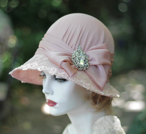 Shabby Chic Pink Lace Vintage Hat