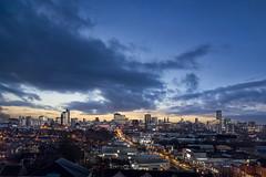 Manchester Skyline (tmkkzk) Tags: skyline night canon manchester twilight cityscape nightscape dusk masks bluehour luminosity