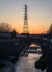 (sandman_kk) Tags: street shadow tower japan river dark wire dusk kanagawa 2016