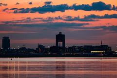 Pretty in Pink (cvillandry (Instagram & Twitter @cvillandry)) Tags: city sky water boston clouds harbor airport aviation sunet
