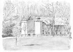 Sunnybrook Park Horse Stable-s (light and shadow by pen) Tags: art pen pencil ink landscape mixed drawing hose medium stable