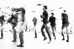 they come for you (1) [explored 5.5.16] (zzra) Tags: bw white motion black blur contrast high parade