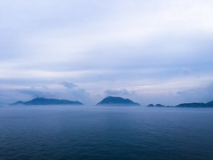 Islands in the distance (malc1702) Tags: ocean travel cruise sea sky mist nature water fog clouds islands ngc bluehour iphone appleiphone iphone6splus