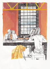 Evenings (Lady Alice) Tags: girls art illustration pen painting restaurant sketch artwork paint artist drawing moscow sketching drawings sketchbook dessin illustrator draw gouache