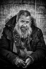 Portrait of a homeless man (Daz Smith) Tags: city uk portrait people urban blackandwhite bw man streets blancoynegro monochrome canon blackwhite bath candid homeless citylife thecity streetphotography bearded canon6d dazsmith bathstreetphotography