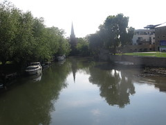 River Thanes, Abingdon with view of St Helen's church spire (John Steedman) Tags: uk greatbritain england church unitedkingdom berkshire oxfordshire sthelens berks oxon grossbritannien     grandebretagne