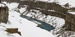 when Earth and Water power work together as creative forces (lunaryuna) Tags: panorama snow season landscape iceland spring rockface geology lunaryuna columnarbasalt geologicalformation myvatnarea jkulsfjllumriver winterscenario jkulsrgljfurrivercanyon centralnorthiceland slowseasonalchange theicelandicscopeofthings