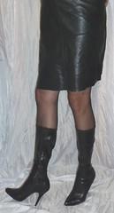 0016 (bib birdy) Tags: tall crossdresser pantyhose leather tv tg cd tranny transgender tgirl 6 boots hight heels black skirt nylon footwear high heel nyon panyhose 6inch sandals xdresser trans transvestite overknee crotch wetlook dress skintight skinny tight lycra spandex cfm milf pvc