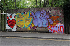 Oust / Nigel / Jam (Alex Ellison) Tags: oust nigel tnf jam eastlondon urban graffiti graff boobs throwup throwie