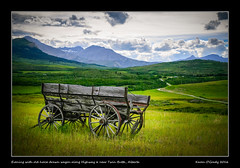 Evening with old horse drawn wagon along Highway 6 near Twin Butte, Alberta (kgogrady) Tags: road old trees summer canada mountains wheel clouds rural wagon landscape rockies wooden country rocky noone ab nopeople alberta fujifilm weathered rockymountains peaks fujinon 2016 westerncanada woodenwheel canadianmountains twinbutte southernalberta canadianlandscapes cans2s xpro2 albertalandscapes picturesofalberta photosofalberta fujifilmxpro2 xf18135mmf3556oiswr