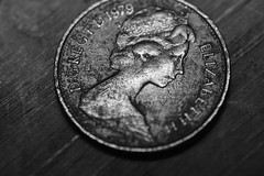 tuppence (millr the shootist) Tags: two pence piece coin legal tender copper tarnished queen likeness portrait