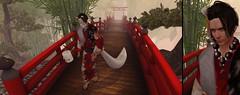 Call upon a Fox... (drayton.miles) Tags: fox kitsune prayer kimono yukata tomoto tail asia oriental second sl secondlife dura clavv bridge spirit mask japan china edgar edward kelsey mesh tattoo tattoos
