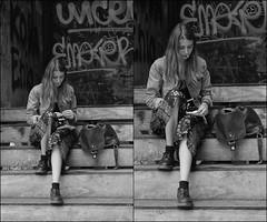 Sigarezza. (camillasaccardi) Tags: interrail travel ontheroad croatia zagreb tobacco cigarette bn girl