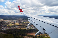 Norwegian Air Shuttle Boeing 737 - 800 Window View (prahatravel) Tags: travel window oslo norway airplane fly airport view aircraft aviation air flight wing norwegian shuttle boeing 800 lufthavn osl gardermoen 737 spoiler flyplass flaps descending ln engm nhd
