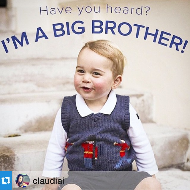 A fofura do dia!! @Repost @claudiai with @repostapp.・・・A fofura do dia já é a notícia da chegada da irmãzinha do pequeno George, a nova princesa da Inglaterra, filha da duquesa de Cambridge, Kate Middleton, e do príncipe William, nasceu! #itsagirl #itsapr