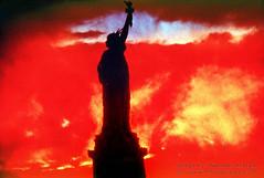 Libretad in the Fire of a far reaching DREAM (Vern Krutein) Tags: nyc newyorkcity travel usa monument architecture freedom symbol landmark icon structure passion americana statueofliberty iconic scenics ablaze ladyliberty fireburning ablace architectfredericaugustebartholdi wordmunchercruncher
