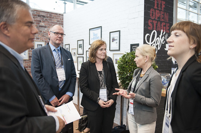 Tomas Svensson (l), Annelie Sonnerby-Nylander and Anna Johansson visit the ITF stand