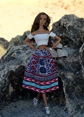 Sophia in White Bardot Top and Printed Midi Skirt (ateliernishasha) Tags: skirt tribal bardottop