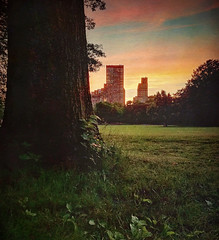 The Park in the City 21 (Jim Lambert) Tags: nyc newyorkcity trees sunset sky usa ny newyork green texture grass skyline architecture buildings evening us spring unitedstates dusk centralpark manhattan parks silhouettes upperwestside manhattanskyline cloudporn goldenhour highrises uws iphone sheepmeadow 2015 mobilephotography painterlytexture iphoneography instagram ifttt may2015 mobiography spring2015 28may2015 may282015