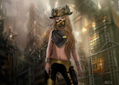 Steampunk Gold (Anita Armendaiz) Tags: life shadow hat photoshop garden four mesh free second accessories chapter damselfly steampunk severed gacha maitreya astralia leggins lelutka formanails fameshed