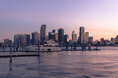 Miami Bay sunset (Javier C. Alcaide) Tags: city sunset sea sky usa skyline landscape boat nikon florida miami d5100