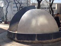 boule fontaine+Visage floutee (alexandrarougeron) Tags: paris france sol gris eau cit structure sphere fontaine arbre ville fer boule environnement urbain dehors ronde exterieur futuriste