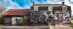 The monkey house (ericbaygon) Tags: panorama art abandoned graffiti monkey nikon paint decay tag panoramic peinture abandon duel maison ferme singe nikonpassion d300s
