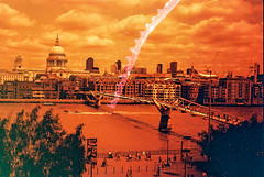 Rollei Redbird - Book 2 - 5. River of blood (Benji :D) Tags: summer london film thames 35mm cathedral stpauls milleniumbridge analogue trip35 olympustrip 2015 redscale riverofblood