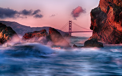 Splash (ericwagner) Tags: sunset beach water landscape waves wave goldengatebridge