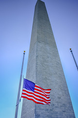 Washington Monument with American US Flag - Washington DC (mbell1975) Tags: morning usa monument america mall washingtondc us dc washington districtofcolumbia memorial with unitedstates flag national american obelisk government dmv federal