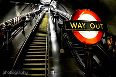 Another Way Out (Alex Chilli) Tags: light red london up yellow stairs way out underground vanishingpoint fuji metro escalator tube steps perspective xa2 lit exit xmount