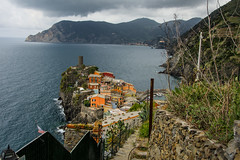 Storm Clouds Over Vernazza (Harry2010) Tags: village vernazza chinqueterre italy cliff rocky seashore mountain storm