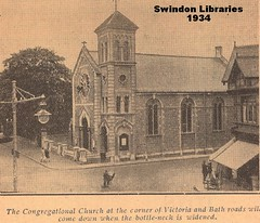 1934: The Congregational Church on Bath Road, Swindon (Local Studies, Swindon Central Library) Tags: 1934 1930s bw swindon wiltshire swindonadvertiser adver church demolished victoriaroad oldtown bathroad congregationalchurch
