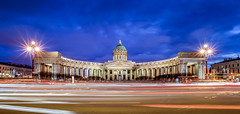 Kazan Cathedral, Saint Petersburg (ZX-6R) Tags: abstract arch architecture blue cathedral christophefaugere citystreet color dusk effects europe hour kazancathedral keywords landscape longexposure nightlandscape orthodox panorama panoramic religion religious russia saintpetersbourg saintpetersburg soviet tourism touristic travelphotographer travelphotography travels unesco world arches bluehour historical landmark monument sovietunion sovietik travel travelling
