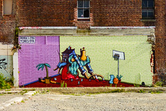 I Am Looking for the Head of the Household (Steve Taylor (Photography)) Tags: hool basketball jug palm tree jacob yikes legs arms dice art mural streetart wall window mauve purple red blue green fun weird crazy odd strange brick newzealand nz southisland canterbury christchurch cbd city plant texture dtr