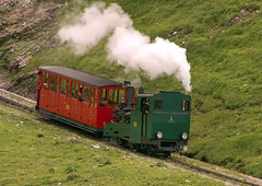 Swiss (BRB) Brienz-Rothorn Bahn 800mm gauge Class H 2/3 rack loco No. 2 descends to Planalp on 11 August 2016 (A Scotson) Tags: rackandpinion rackrailway cograilway slm brienz rothorn brienzrothornbahn brb swiss steam 800mmgauge narrowgauge mountains chalet locomotive train