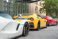 Italians (Beyond Speed) Tags: ferrari laferrari f12 f12berlinetta f12tdf tdf supercars automotive automobili nikon v12 yellow white red hybrid london knightsbridge combo