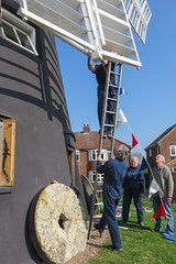 Decorating Holgate Windmill for the Tour de Yorkshire (1)