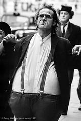 The Actor (gwpics) Tags: uk greatbritain england people blackandwhite bw man male men london film monochrome person mono blackwhite unitedkingdom streetphotography lifestyle actor 1995 society fancydress socialdocumentary socialcomment streettheatre streetpics strasenfotograpfie