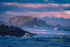 Sunrise Bandon Beach, Oregon.jpg (Eye of G Photography) Tags: ocean usa beach water oregon sunrise sand waves pacific northamerica bandon rockformations skyclouds pilchuckcc