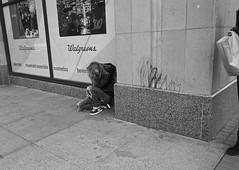 Corner of Happy and Healthy (Corner of 9th and Market Streets) - San Francisco, CA (Rex Mandel) Tags: sf sanfrancisco california street city blackandwhite bw monochrome homeless sidewalk irony heroin junkie streetperson heroinaddict womanjunkie gakked